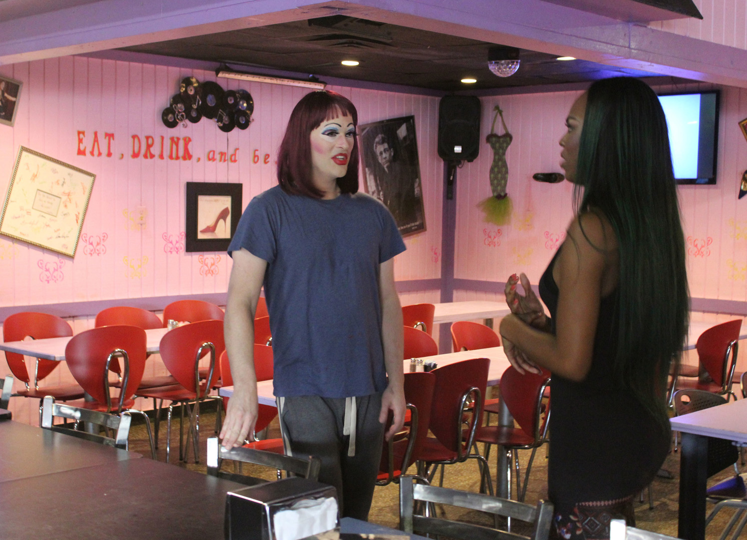 Co-owner Ashley Wright prepares for a drag show at Hamburger Mary's.