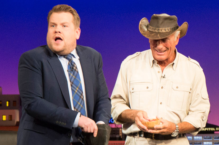 James Corden stayed calm as he prepared to meet the black vulture.