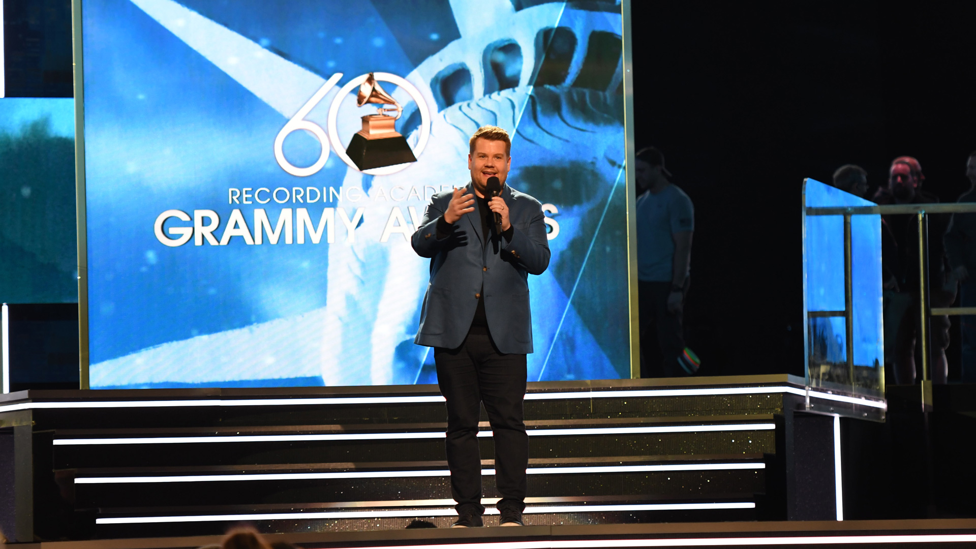 James gets a feel for the stage before his big night hosting the 60th Annual GRAMMY Awards.