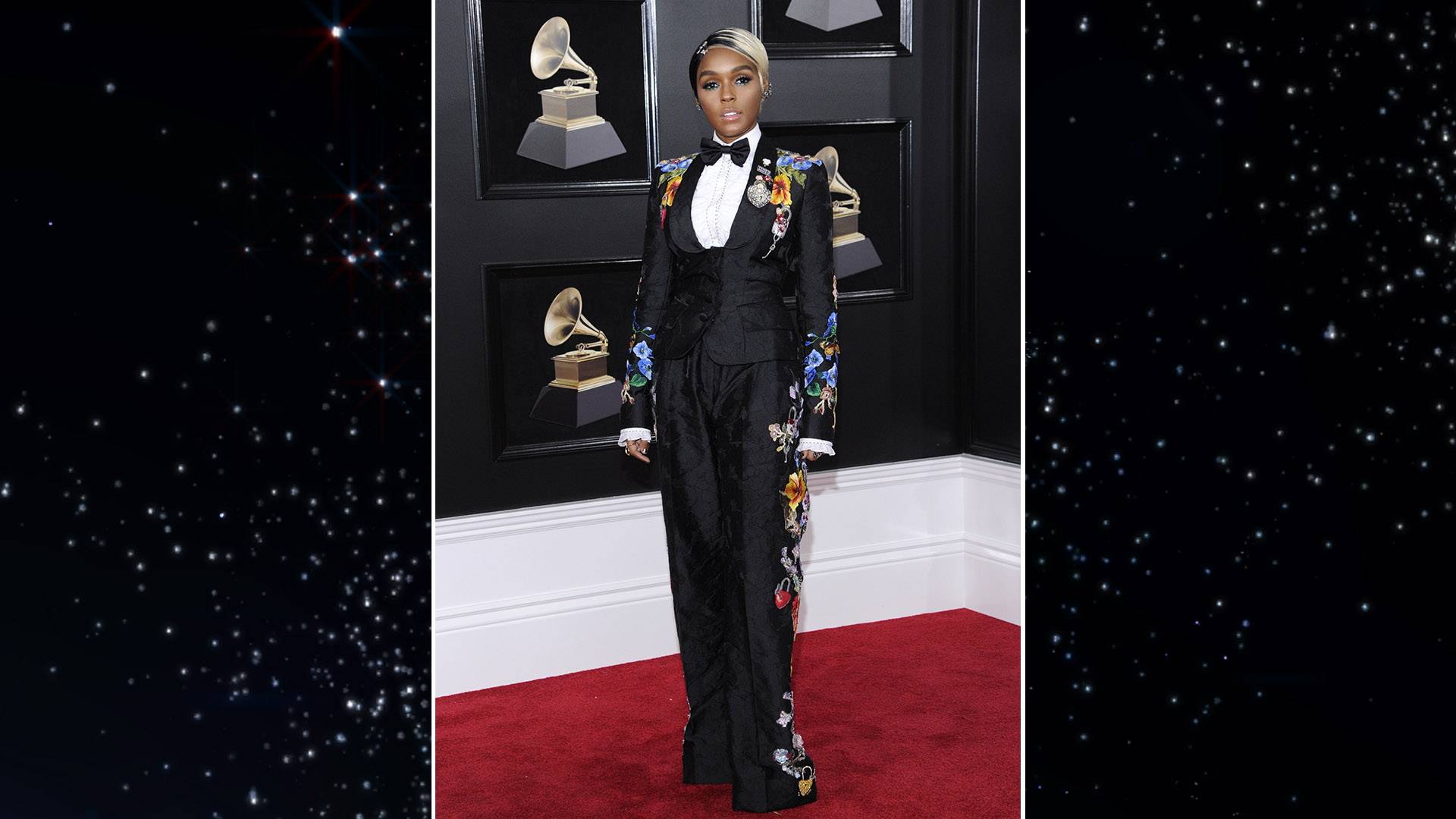 Janelle Monáe towers over the 60th Annual GRAMMY Awards red carpet in a Dolce & Gabbana floral suit.
