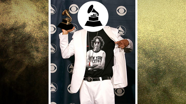 Who wore this clean, white suit with a classic John Lennon T-shirt?