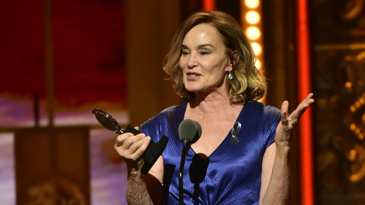 Jessica Lange wins the 2016 Tony Award for Best Performance by an Actress in a Leading Role in a Play.