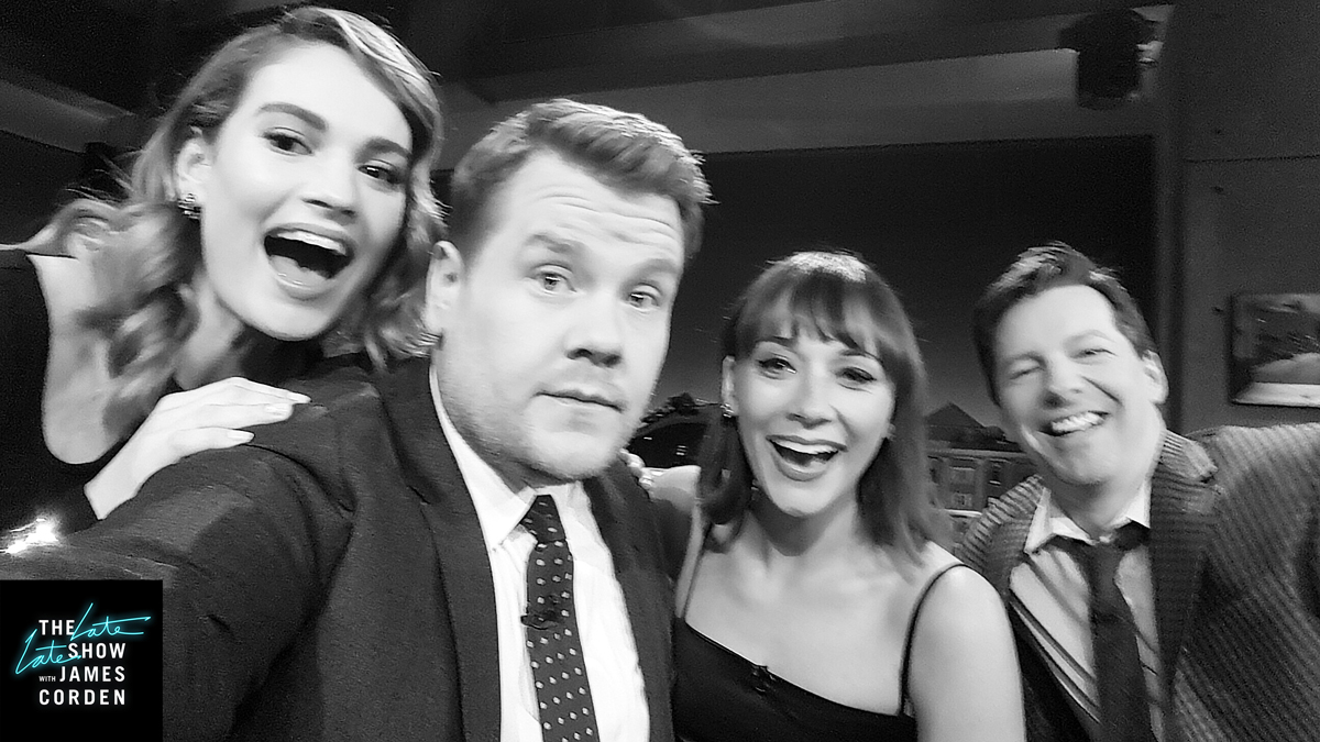 Lily James, Rashida Jones, and Sean Hayes