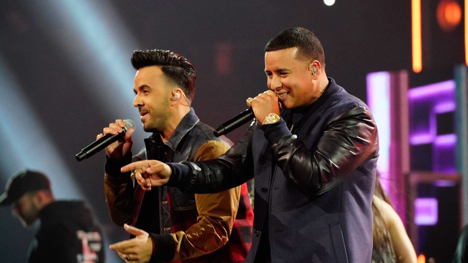 Luis Fonsi and Daddy Yankee turn up the heat while rehearsing for the 60th Annual GRAMMY Awards.