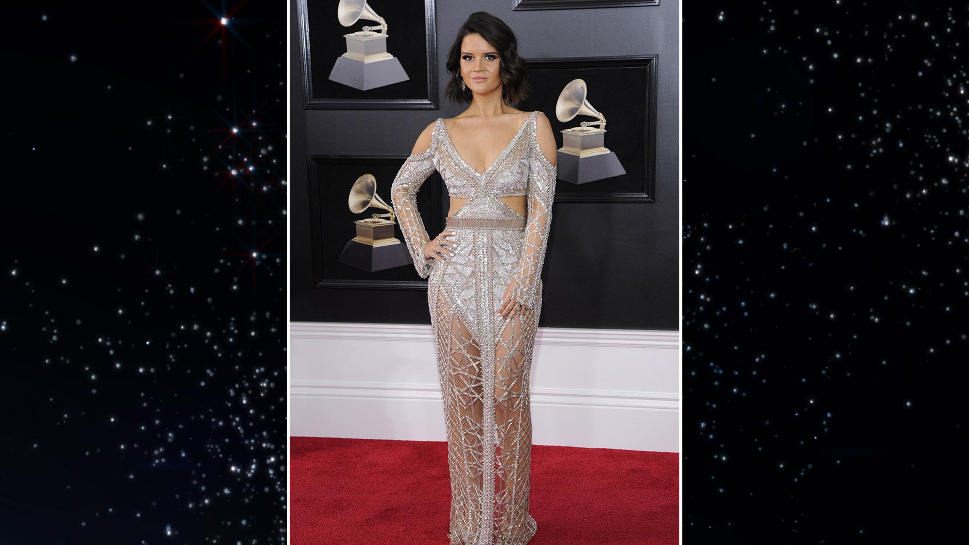 Maren Morris rocks a sparkly Julien Macdonald dress with shoulder cut-outs.