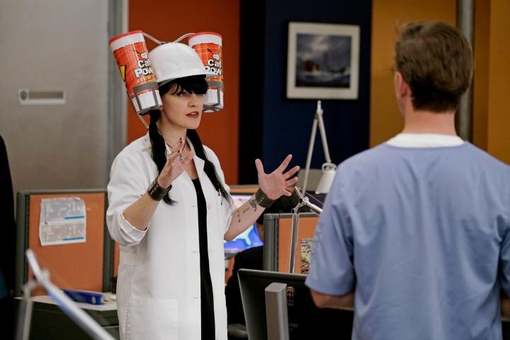 Abby shows off her new Caf-Pow helmet.