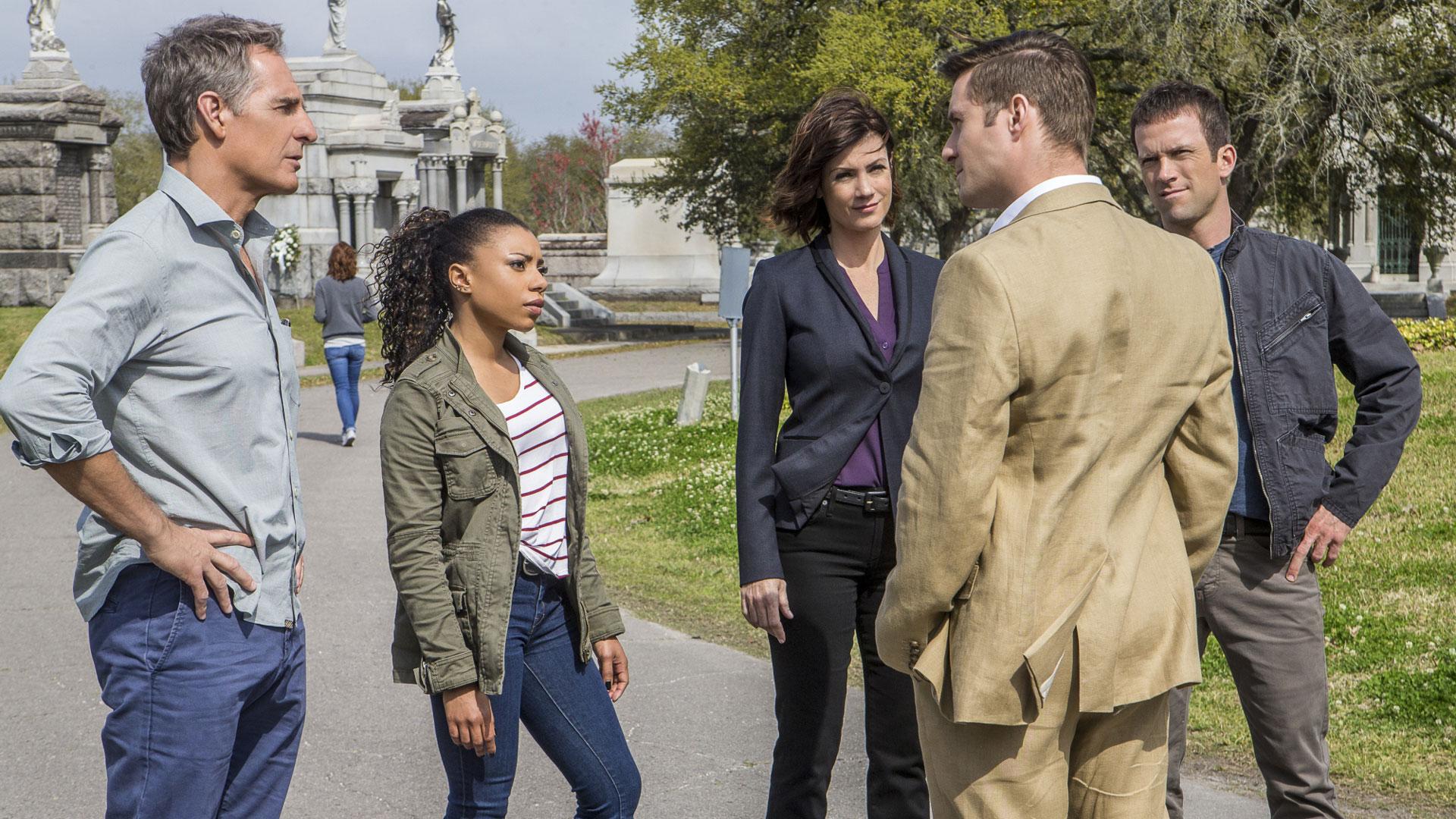 Scott Bakula as Dwayne Pride, Shalita Grant as Sonja Percy, Zoe McLellan as Meredith Brody, and Lucas Black as Christopher LaSalle
