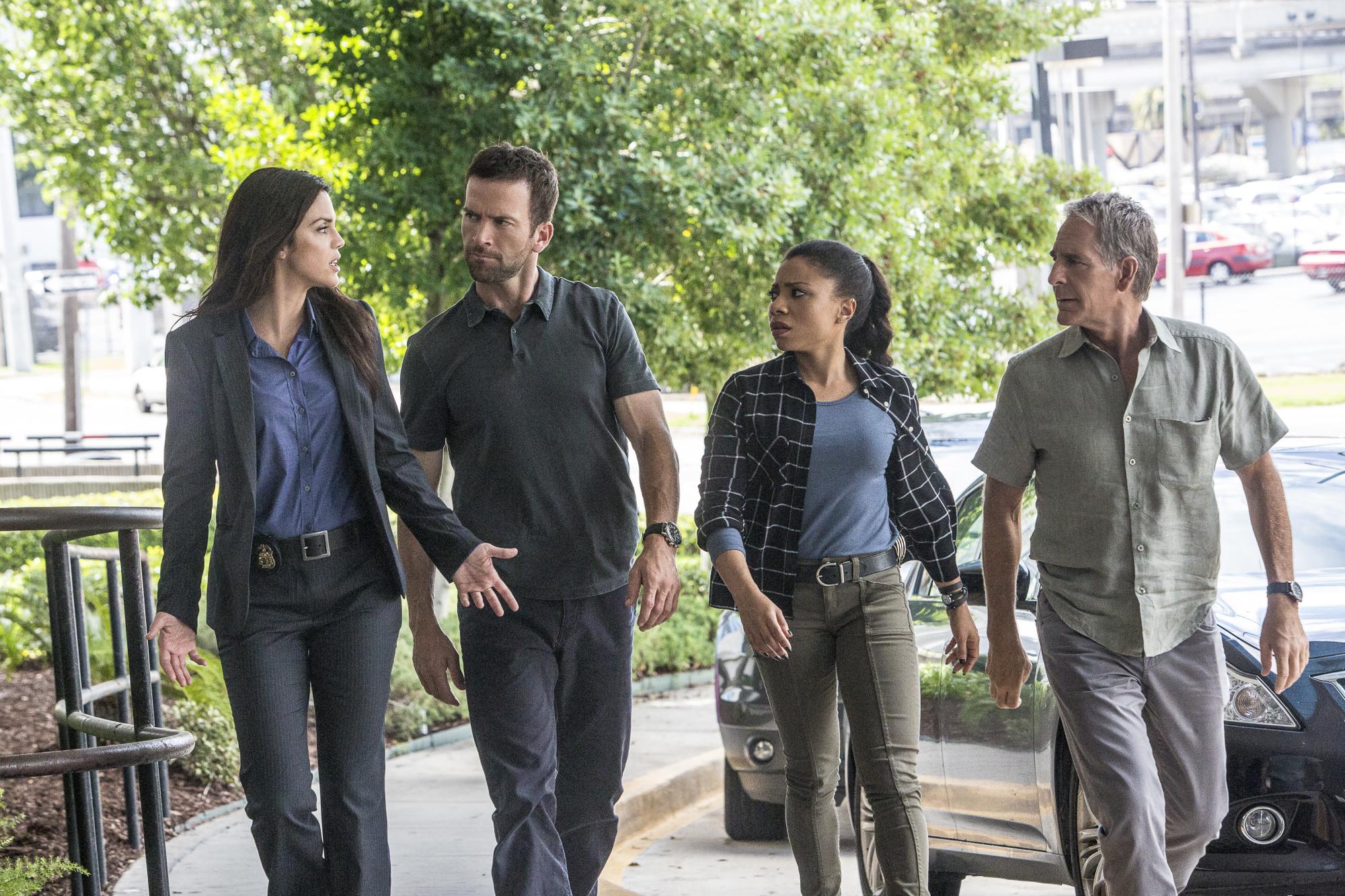 Vanessa Ferlito as FBI Special Agent Tammy Gregorio, Lucas Black as Special Agent Christopher Lasalle, Shalita Grant as Sonja Percy, and Scott Bakula as Special Agent Dwayne Pride