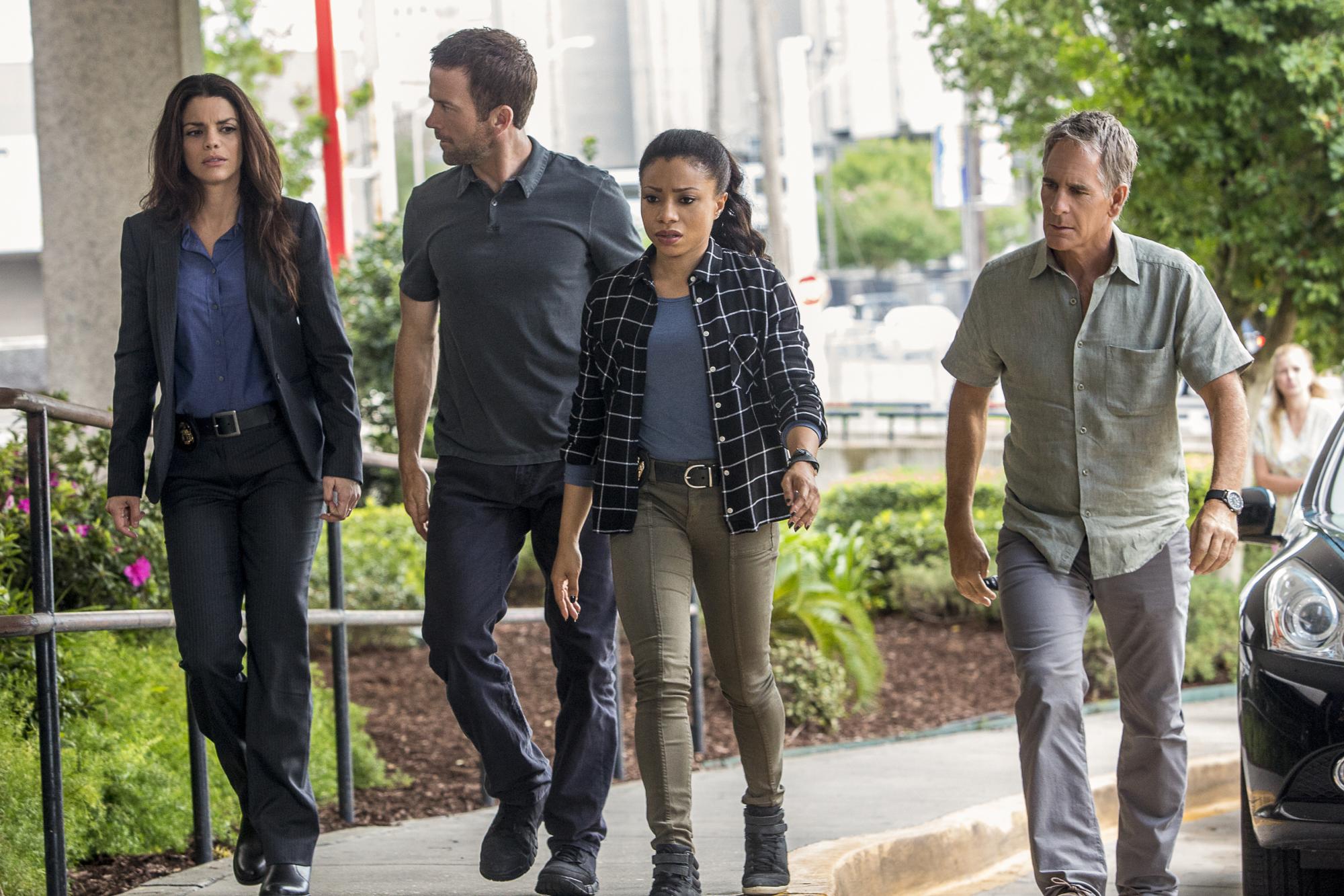 Vanessa Ferlito as FBI Agent Tammy Gregorio, Lucas Black as Special Agent Christopher Lasalle, Shalita Grant as Sonja Percy, and Scott Bakula as Special Agent Dwayne Pride