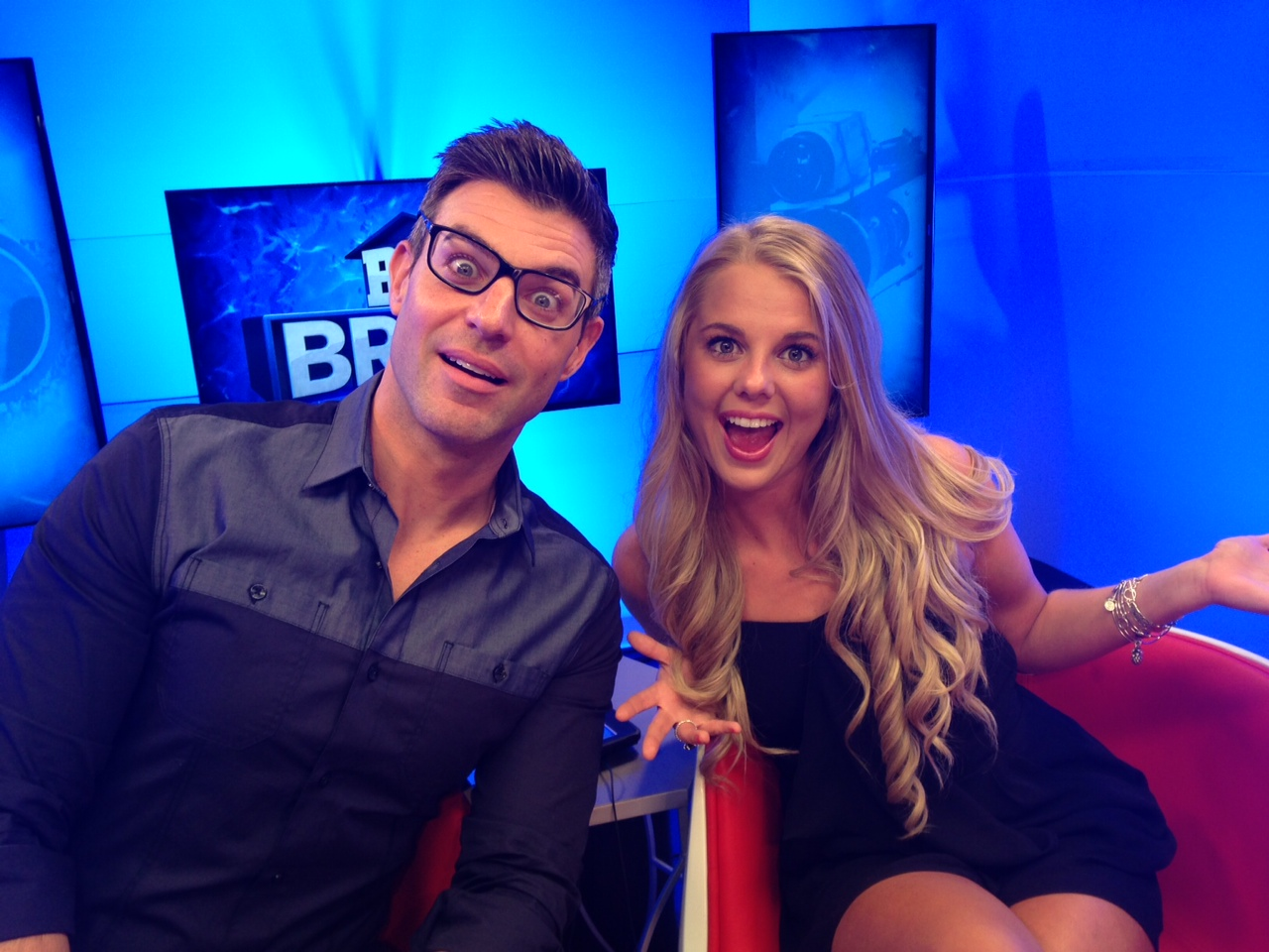 Jeff tries on Nicole's glasses
