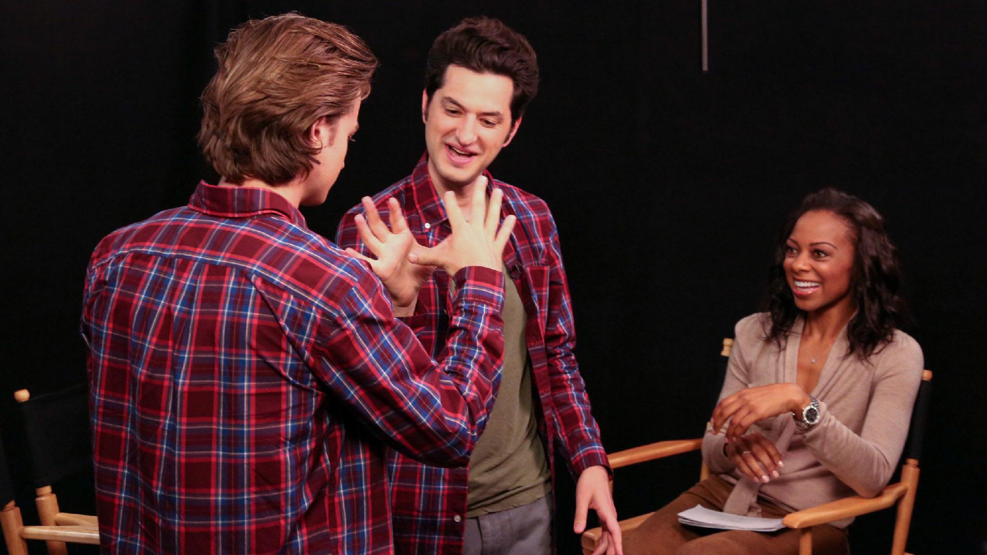 Practicing their complex handshake