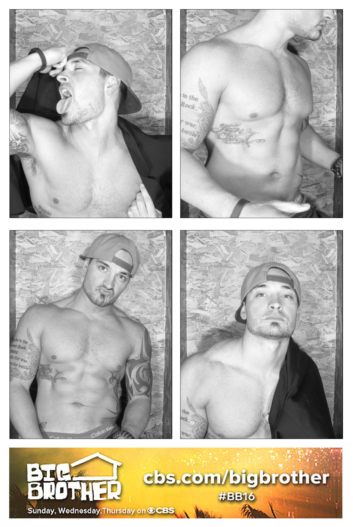 Shirtless in black and white