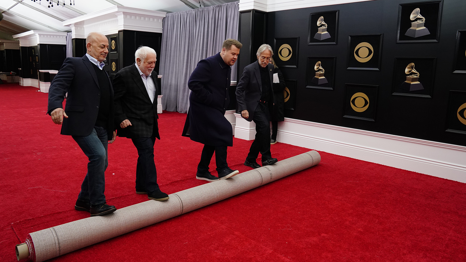 Host James Corden helps roll out the 60th Annual GRAMMY Awards® red carpet.