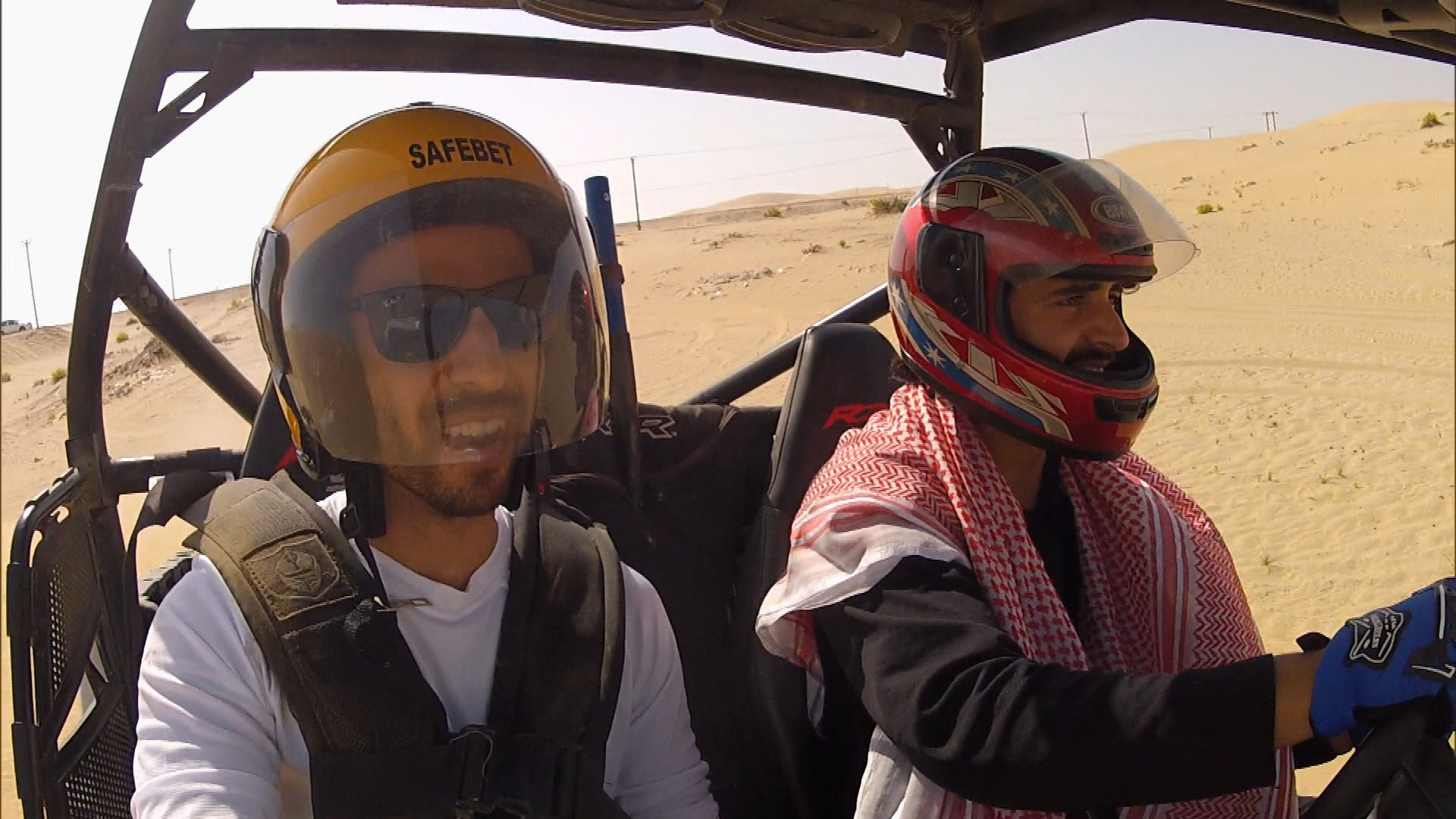 Driving through a dune buggy