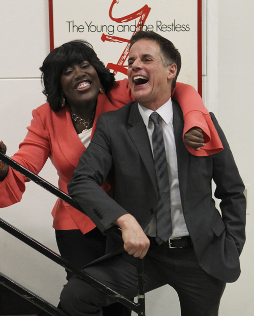 Sheryl Underwood laughing with Christian Le Blanc