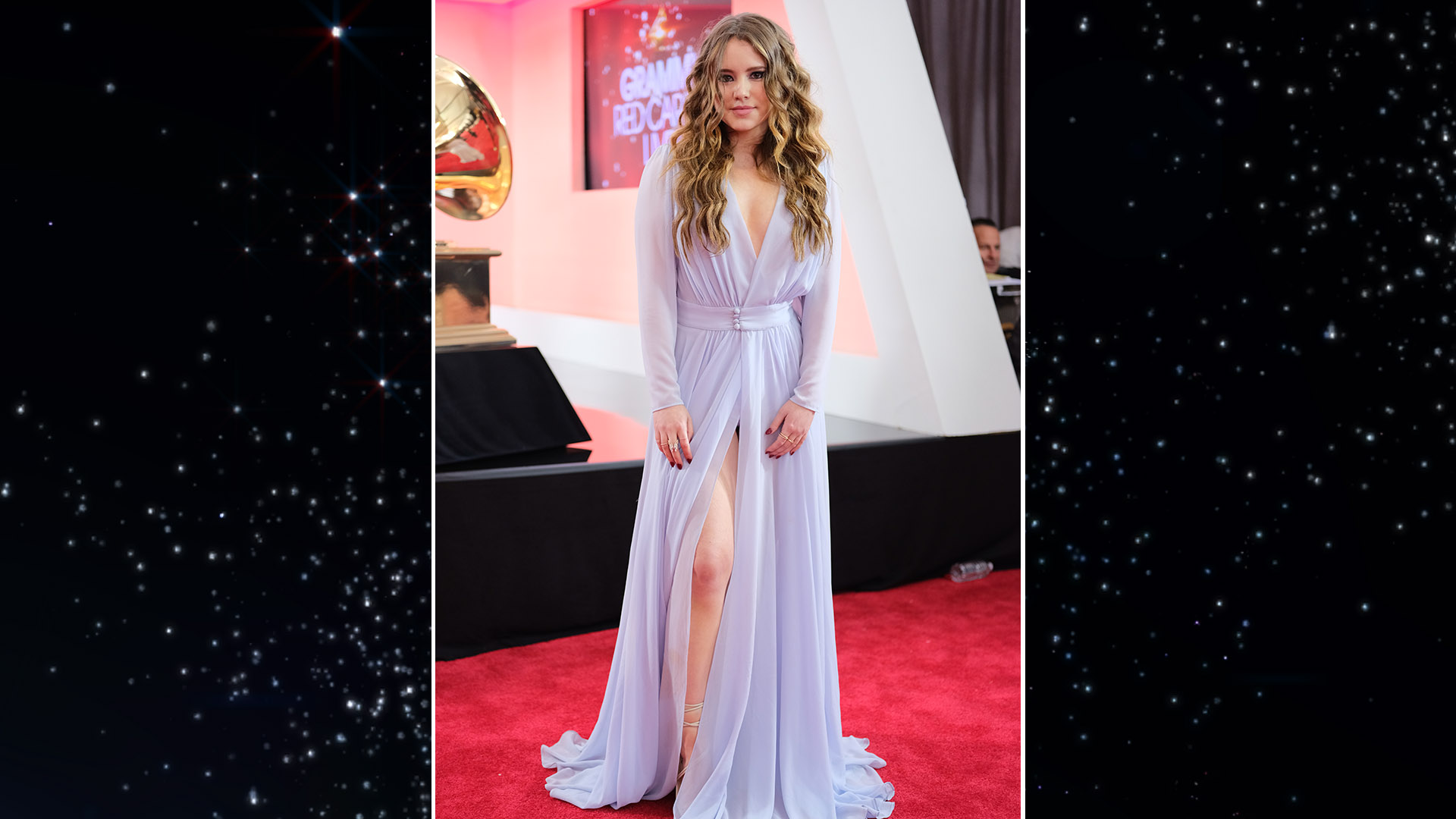 Kevin Can Wait star Taylor Spreitler shows a little leg on the 60th Annual GRAMMY Awards red carpet.