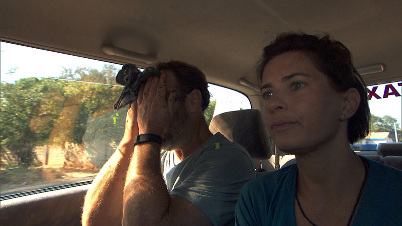 Logan Fazio and Chris Gordon (#ThePaparazzi) stress out during the Roadblock.