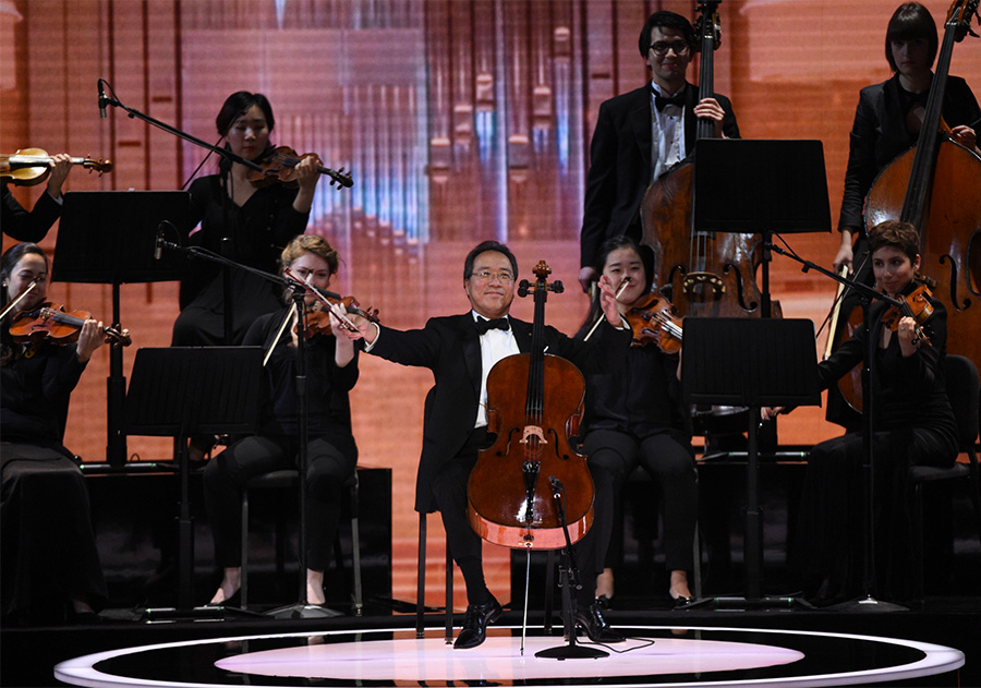 Cellist Yo-Yo Ma plays a piece in honor of Seiji Ozawa.